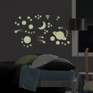 Moon & Stars wall art glow in the dark, from WallPops
