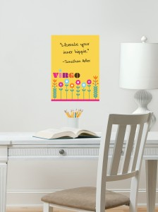 Get your dorm desk space organized with fabulous zodiac dry-erase wall art