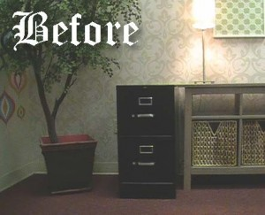 This drab filing cabinet could use a re-vamp!