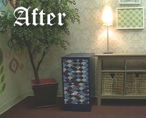 Paint a filing cabinet & finish it with WallPops for a beautiful home office accent!