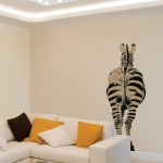 This zebra decal has a boutique style burlap finish