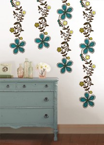 Scandinavian Wall Art from WallPops with Colorful Teal Flowers