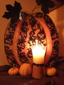 Make your own Halloween candle with a WallPops bat cut out