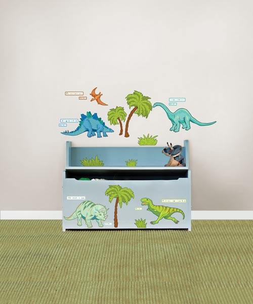 Have fun with your kids decor! Dinosaur wall decals on a trunk looks great!