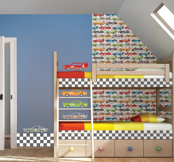 Bunk Beds in A Kids room with a racing stripe decal from WallPops