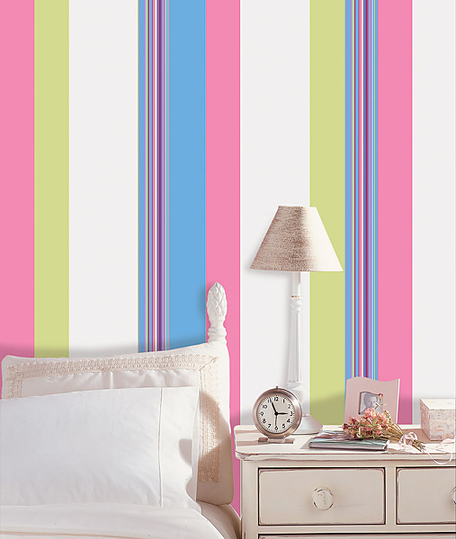 Pretty Green Wall Stripes Removable Decals