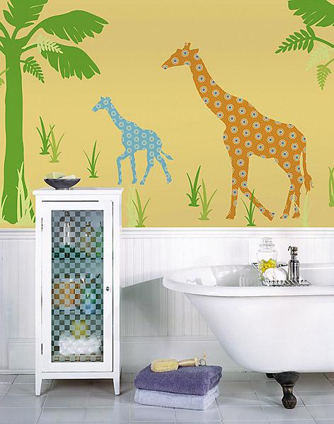 Giraffe Wall Decals in a Kids Bathroom
