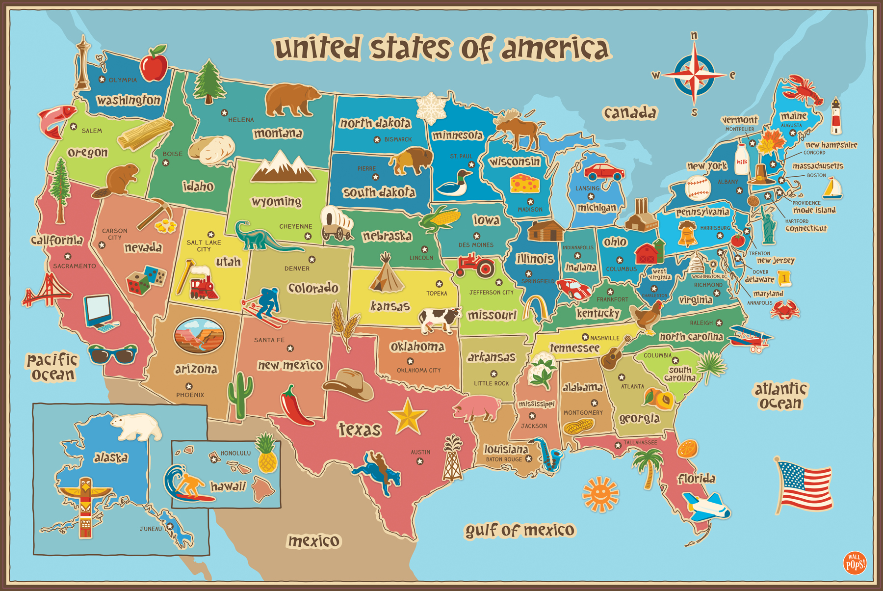 WallPops Dry-Erase Wall Decal Kids Map of USA