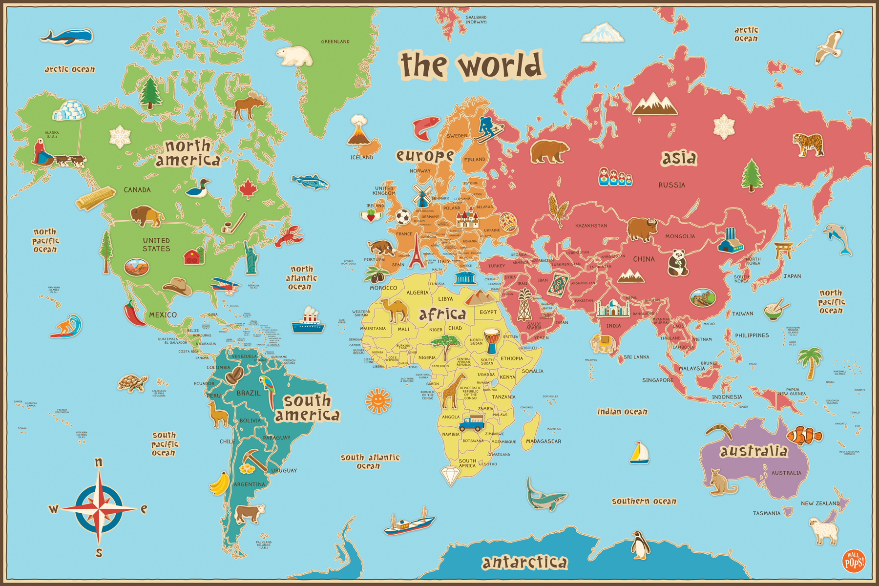 Kids World Map Dry-Erase Decal from WallPops