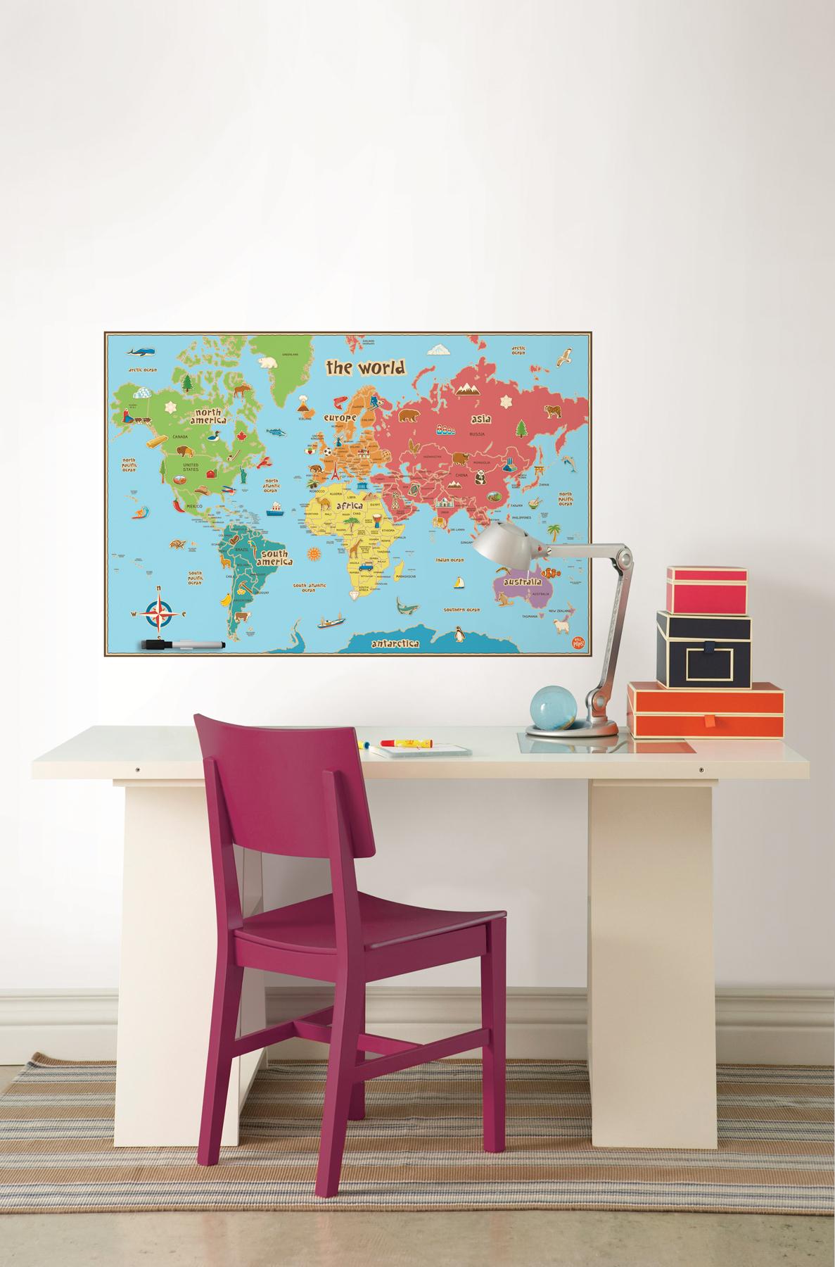 WallPops Kids Dry-Erase World Map
