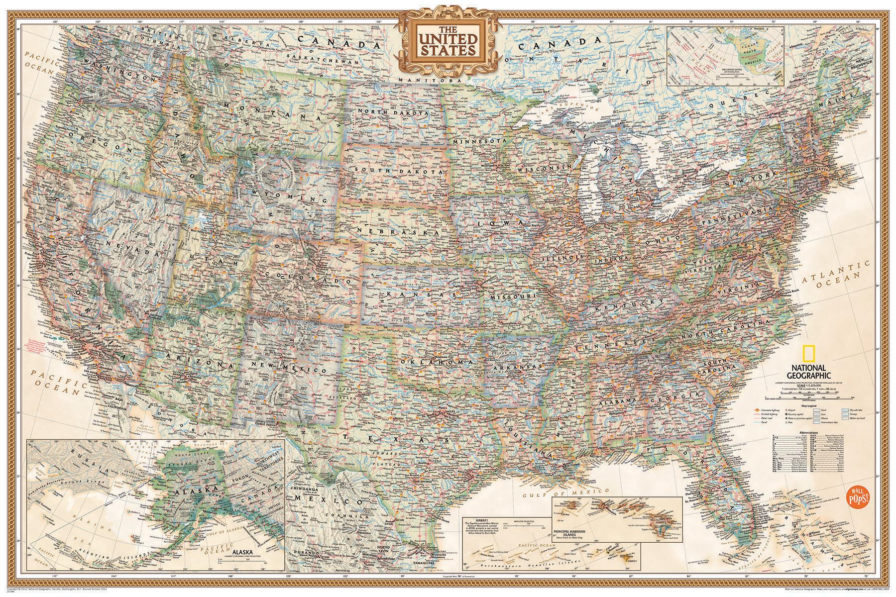 Executive Map of the USA