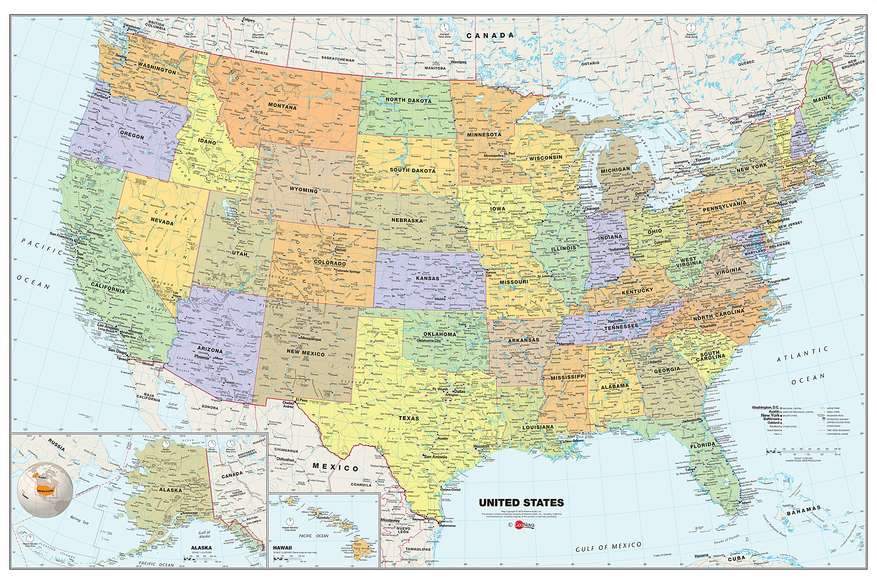 Classic Map of the USA Dry-Erase Decal