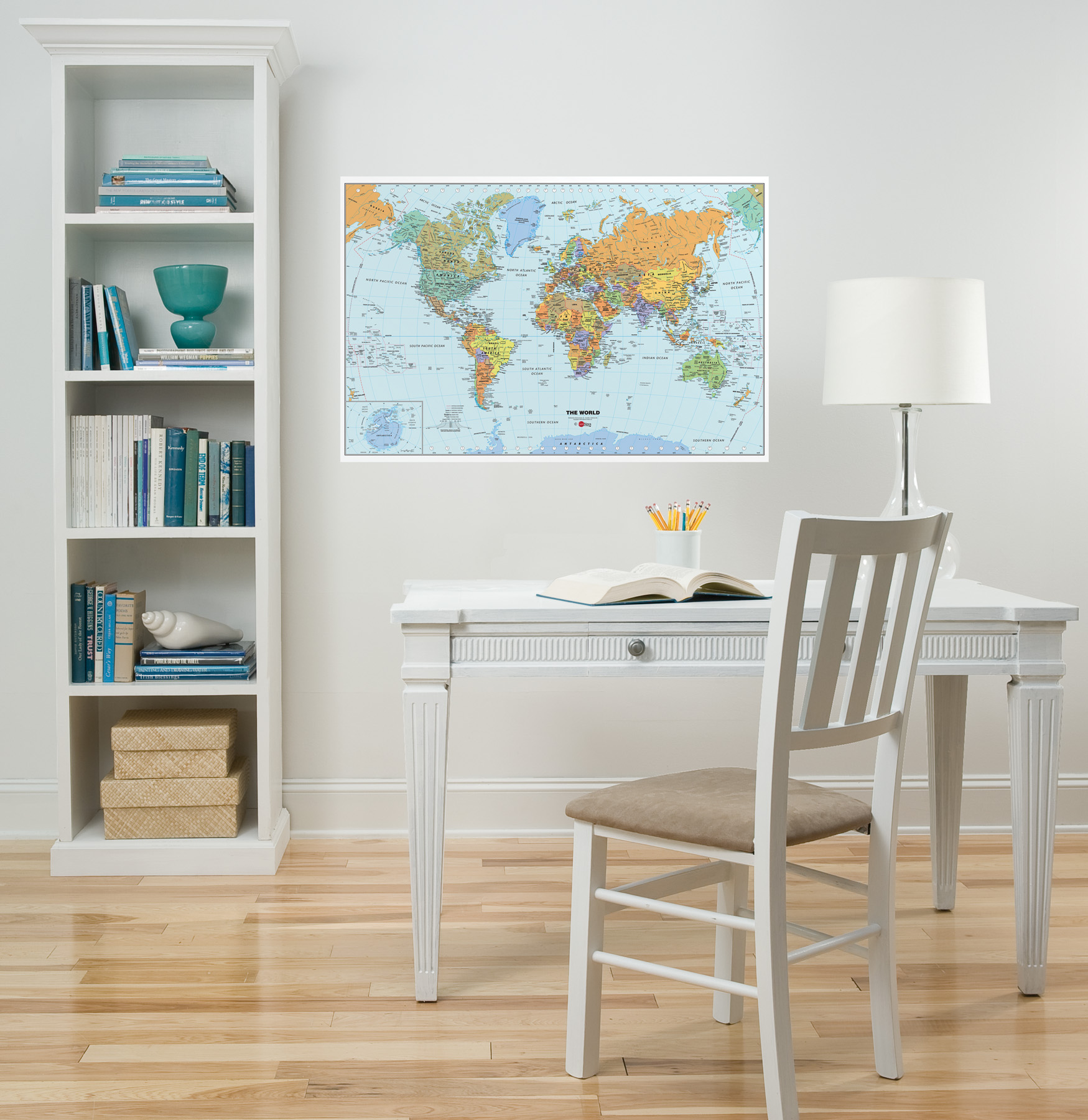 Dry-Erase World Map Decal