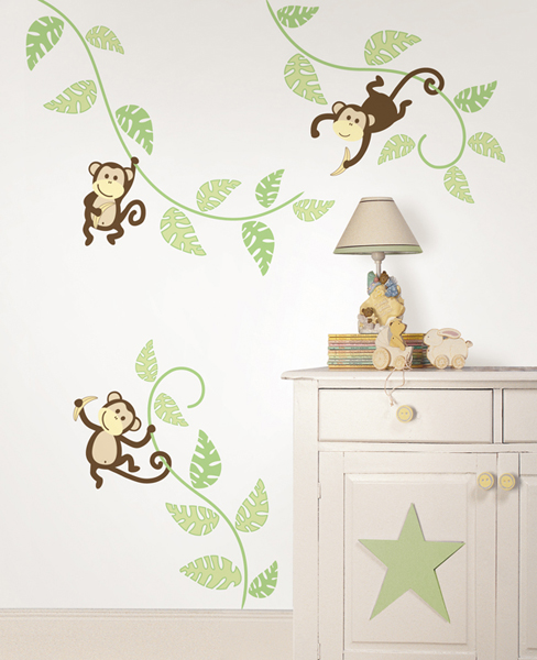Peel and Stick Monkey Wall Art Kit from WallPops!