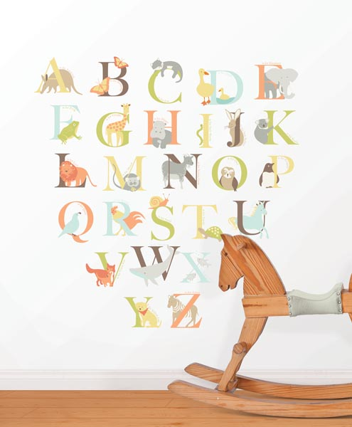 Alphabet Wall Decals with Animals by WallPops