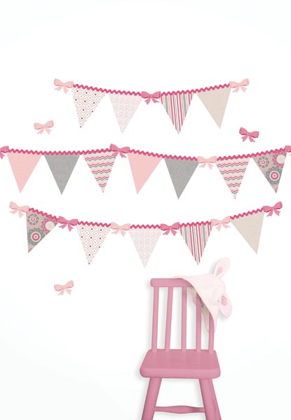 Pink Flag Pennant Decals in a Nursery