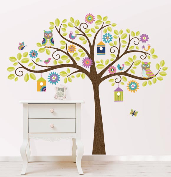 Nursery Tree with Owls by WallPops