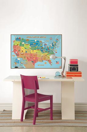 Dry-Erase Map of the USA with State Capitals Classroom Decor Idea