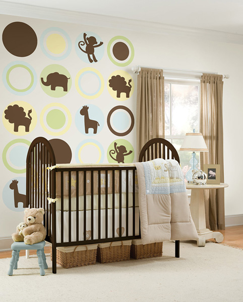 Espresso Brown Jungle Animal Silhouettes Decals for a Nursery Royal Baby Decor Idea