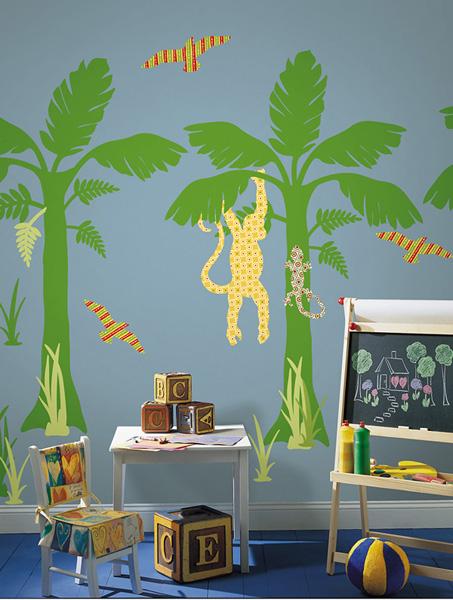 Safari Trees and Monkey Wall Art Classroom Decorating Idea
