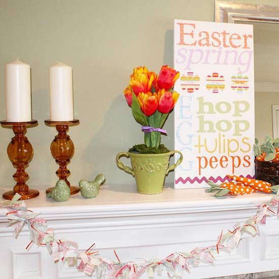 Easter Mantel decor idea