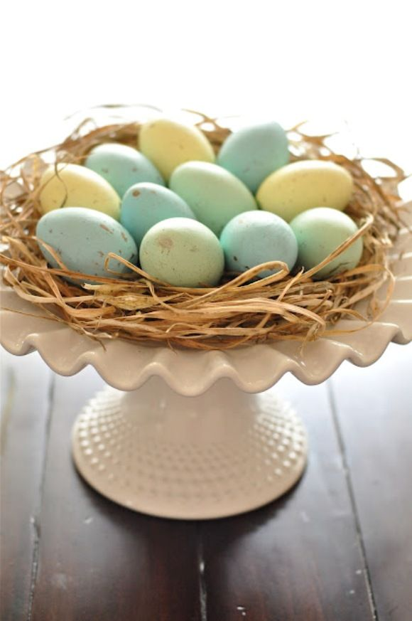 Cake Plate Easter Egg nest Easter Display DIY decor idea