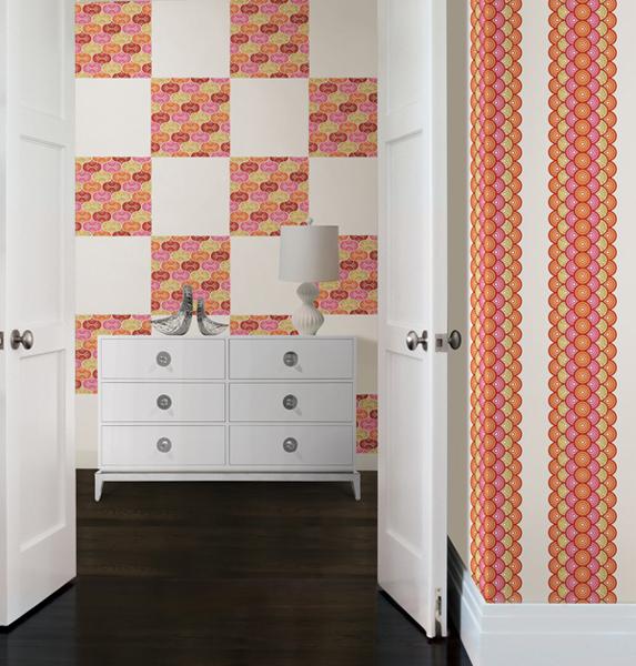 DIY foyer decor idea with wall decals