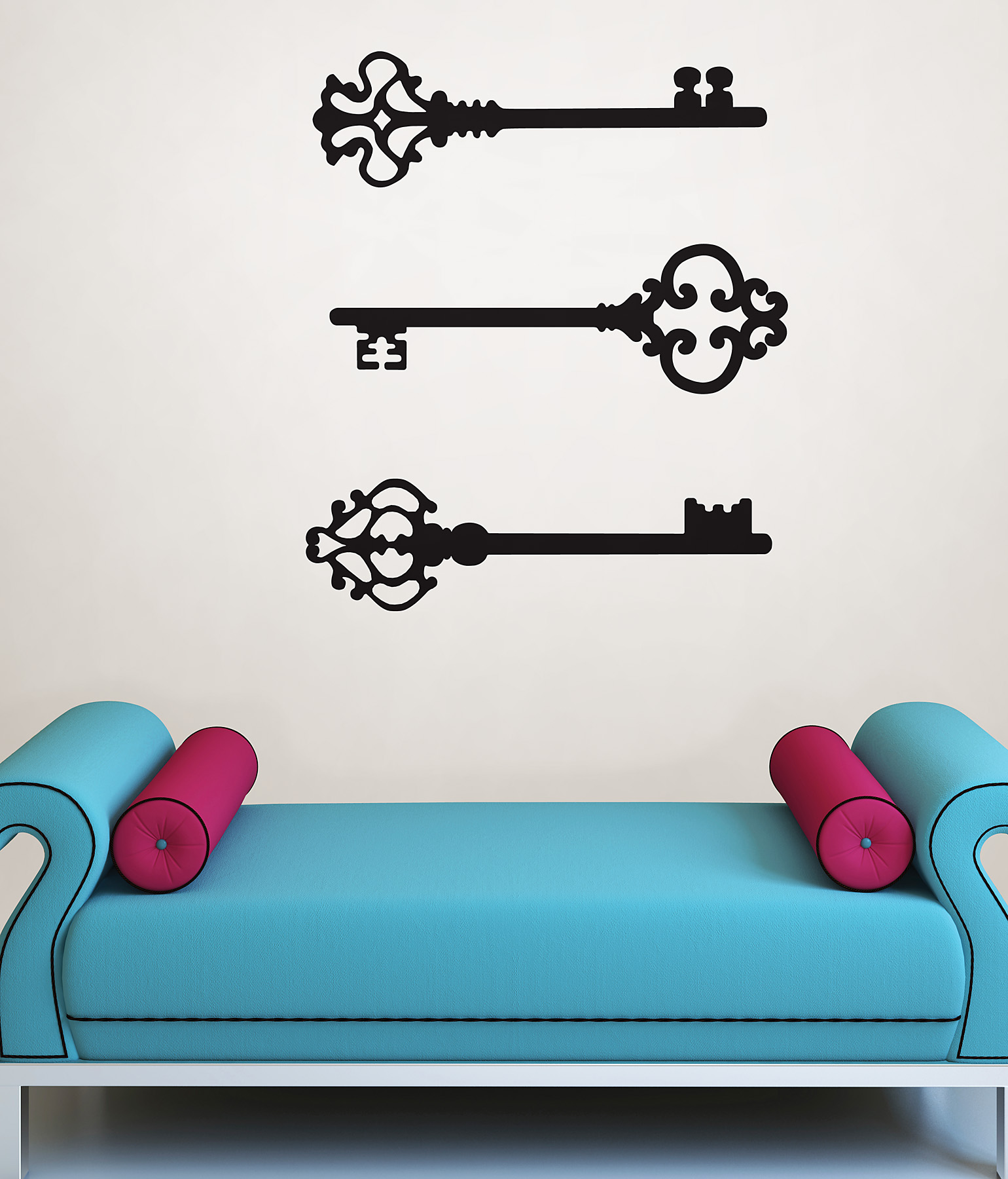 Blue ottoman and emty frames on the wall