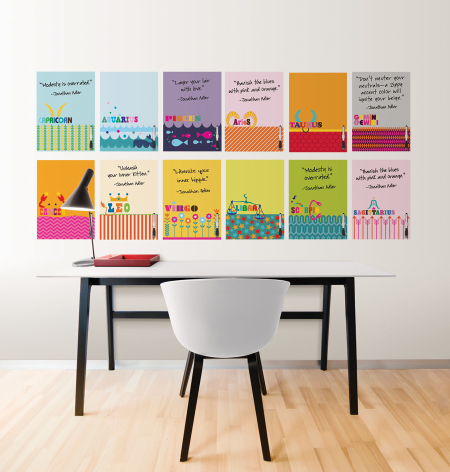 dry-erase zodiac message board decals by designer Jonathan Adler for Wallpops