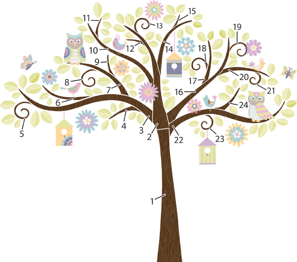 Hoot and Hangout Tree Decal Instructions