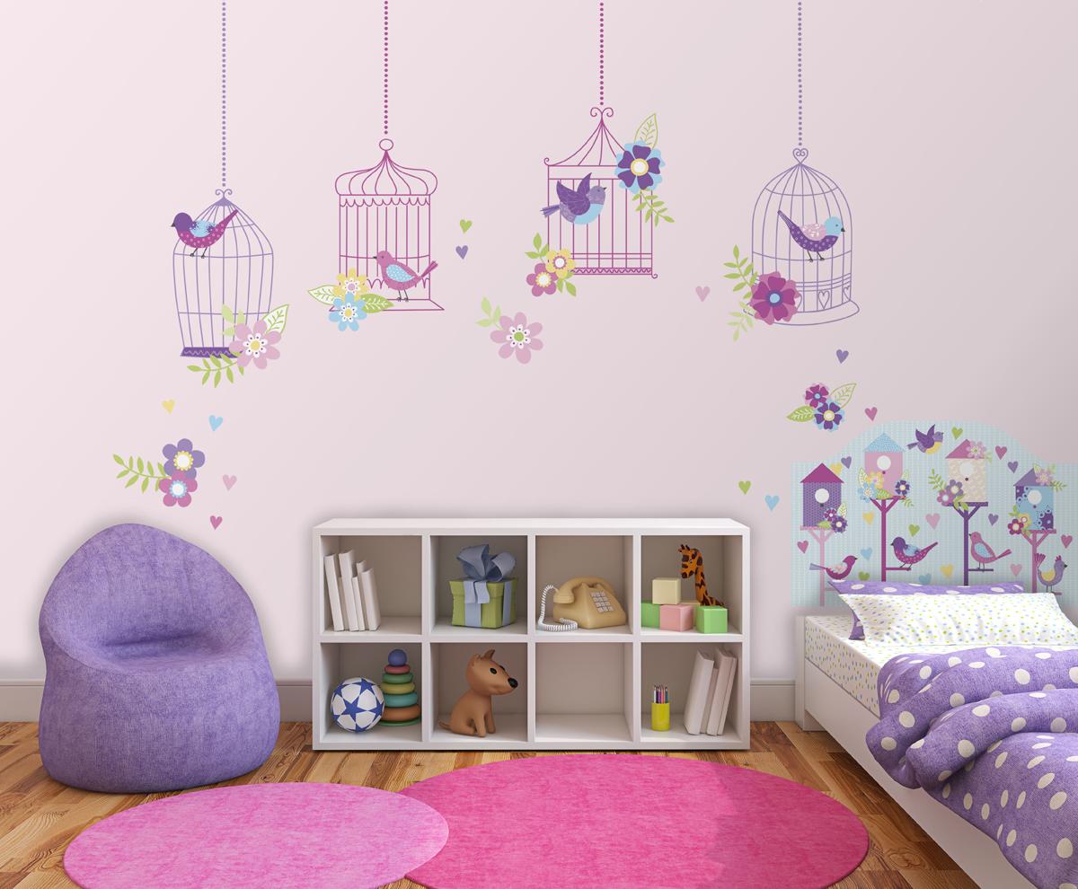 Chirping the Day Away Bird Theme Peel & Stick Headboard Decal for Kids Room Decor