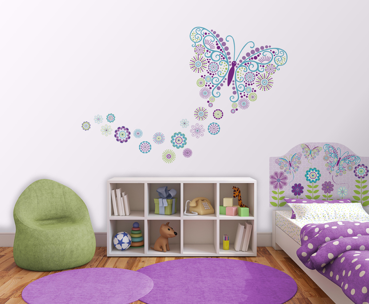 Butterfly Theme Peel & Stick Headboard Decal for Kids Room Decor