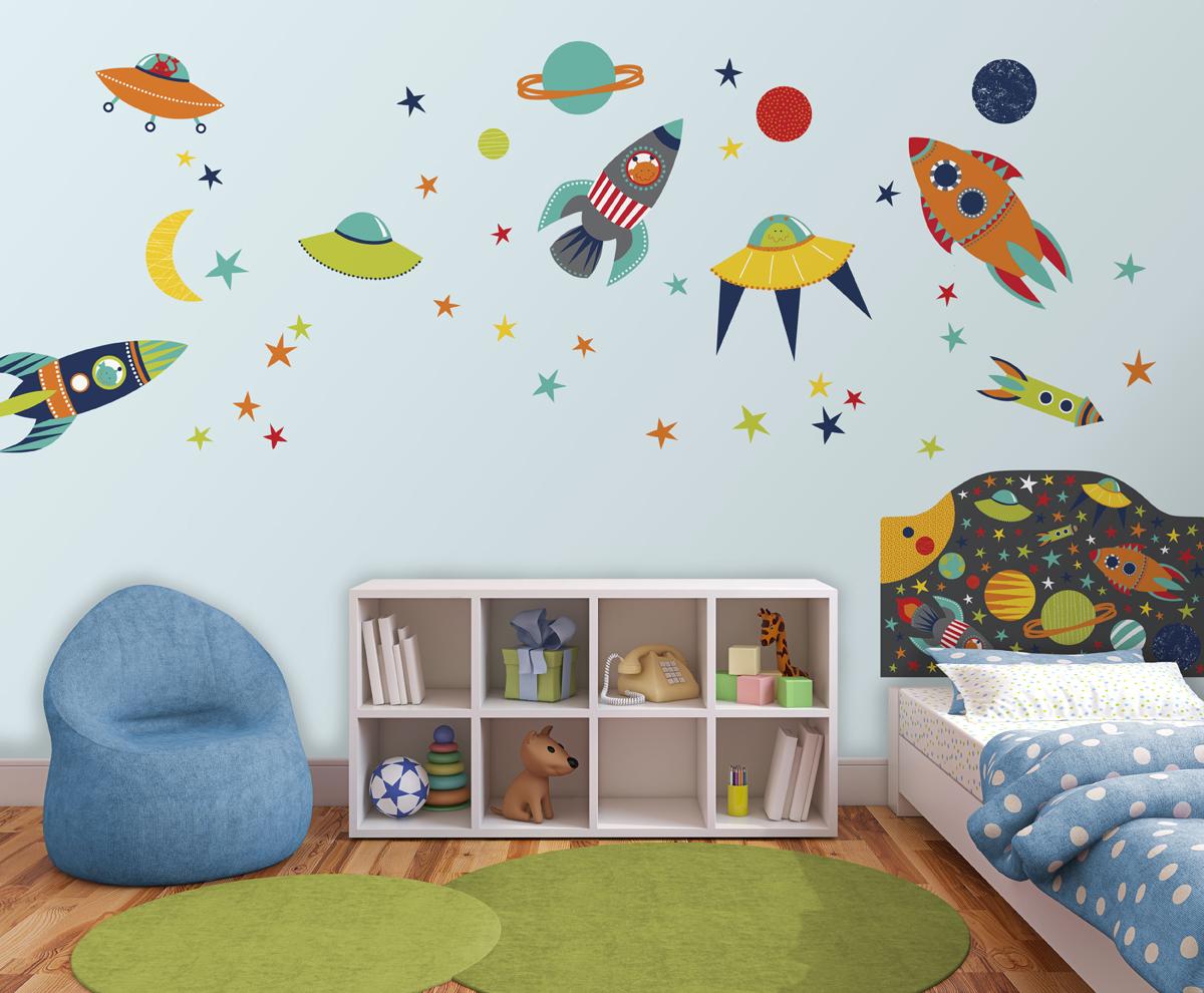 Blast Off Space Theme Peel & Stick Headboard Decal for Kids Room Decor