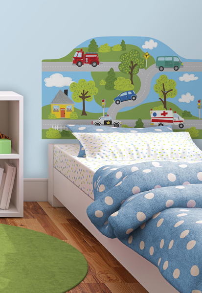 Around the Town Car Theme Headboard Decal for kids Room Decor
