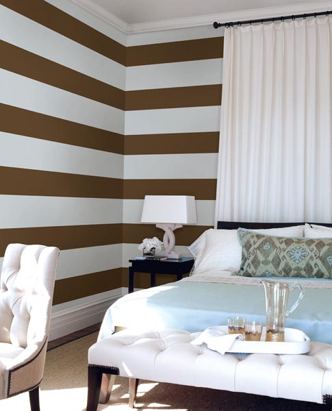 Decor idea small space Striped decals give these walls the illusion of being wider than they are