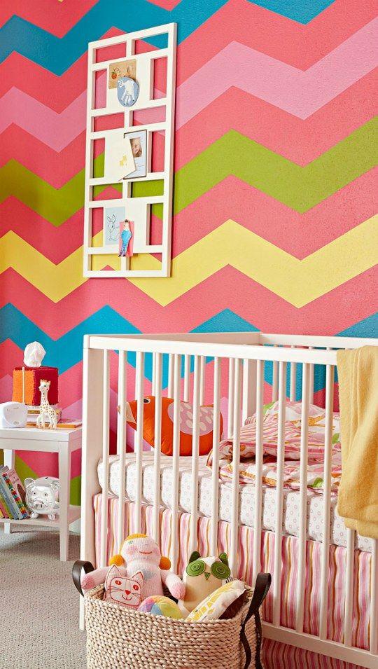 small nursery decor idea bright chevron wall colorful small nursery decor