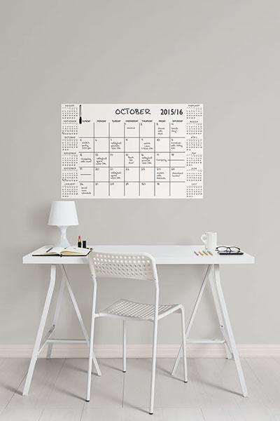 White dry-erase calendar academic calendar year for 2015 - 2016