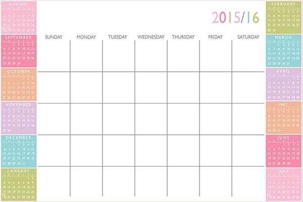 Dry-Erase Academic Calendar Color Block Peel & Stick Decal by WallPops