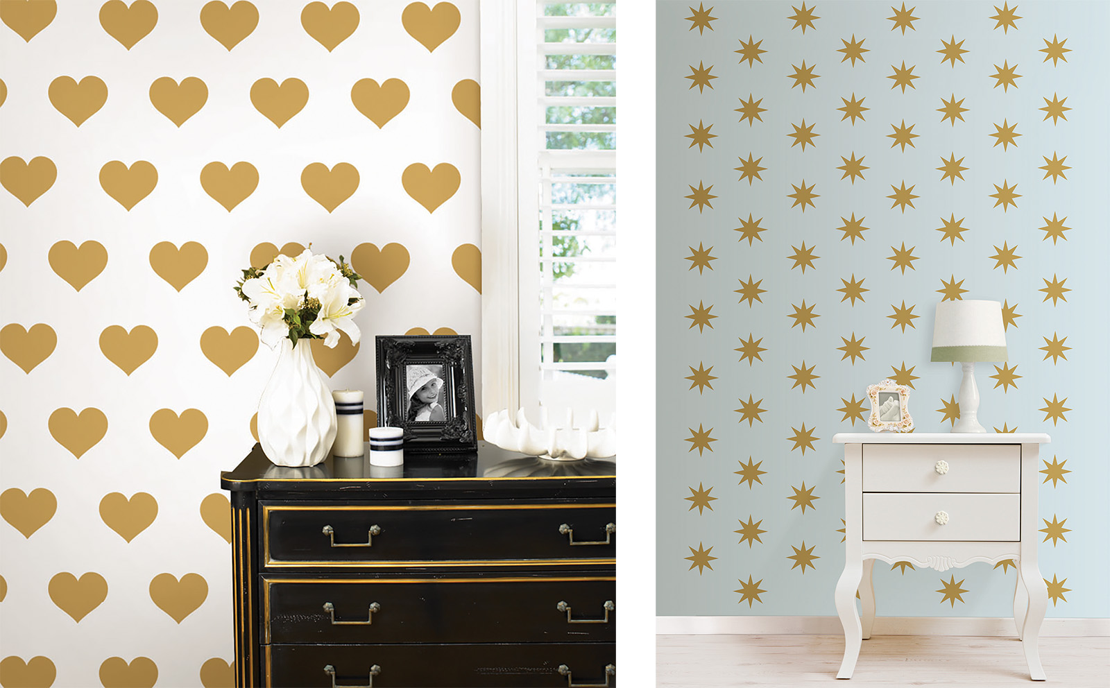 gold heart decals