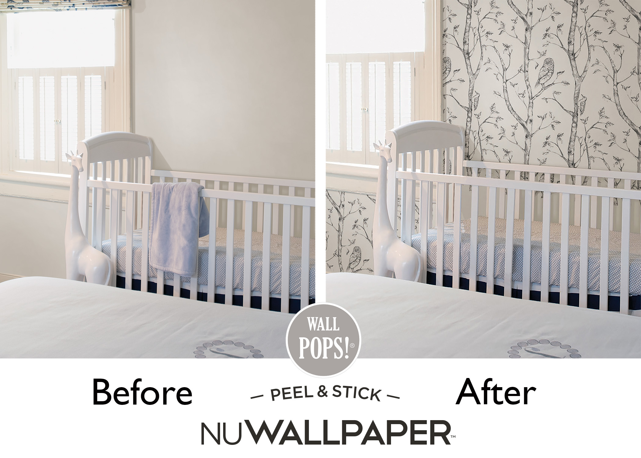 Nursery Owl Wallpaper Before and After