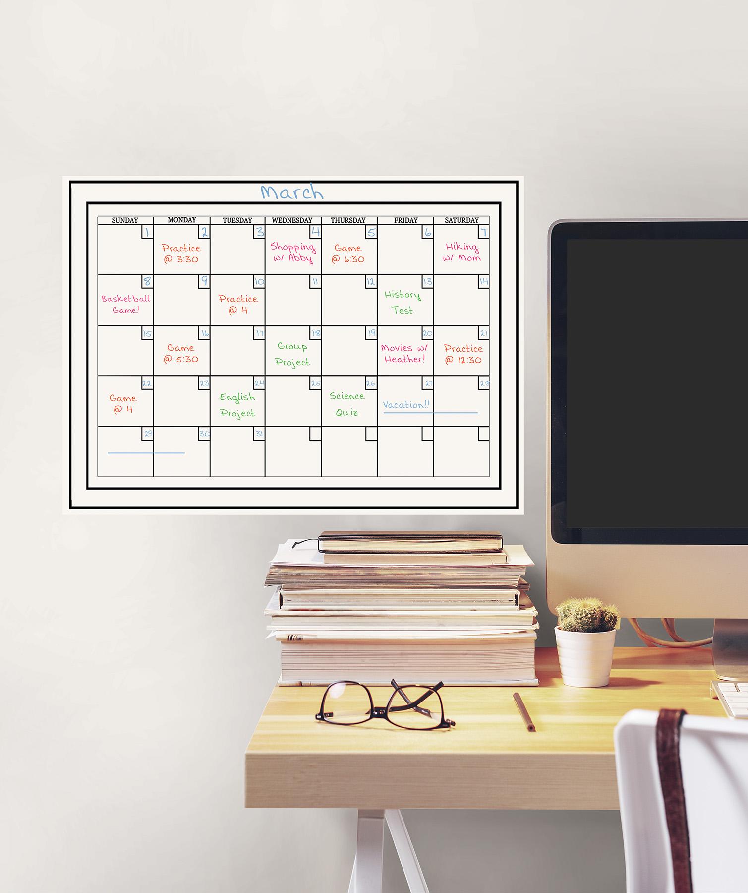 white monthly dry erase calendar