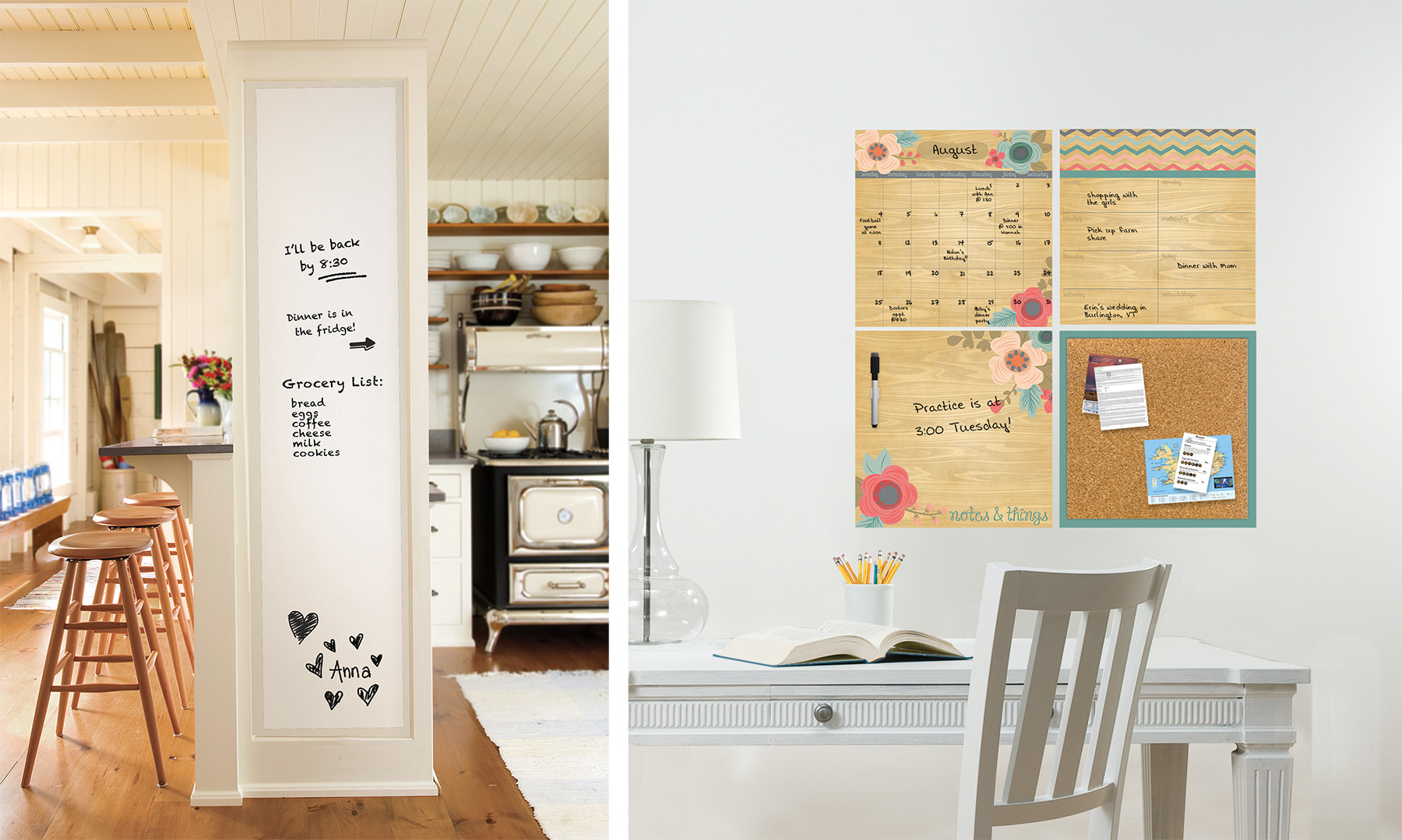 dry erase calendar and message board