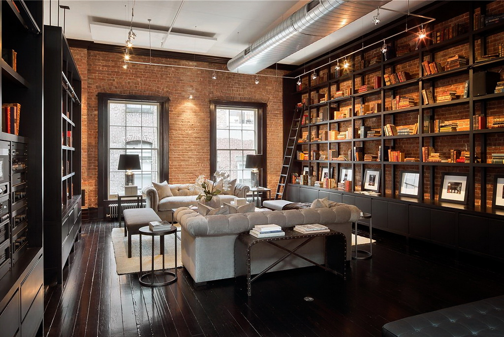 Loft with library living room