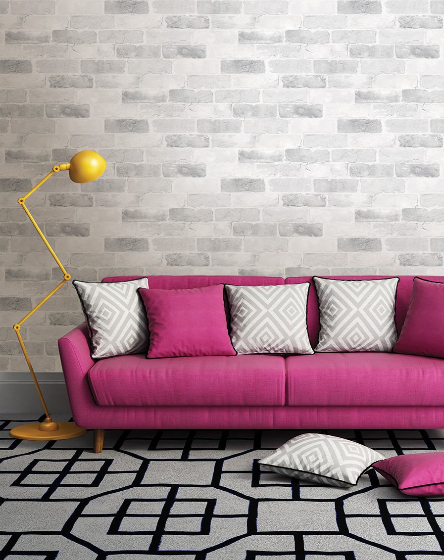 Modern loft living room with pink sofa