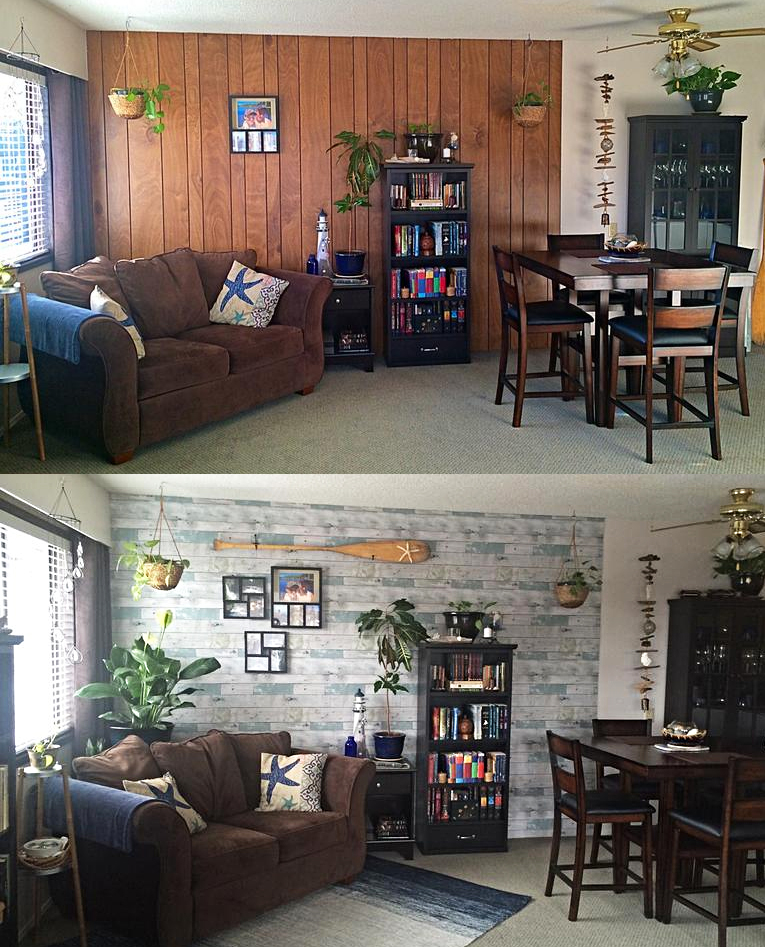 living room before and after using peel and stick beachwood wallpaper