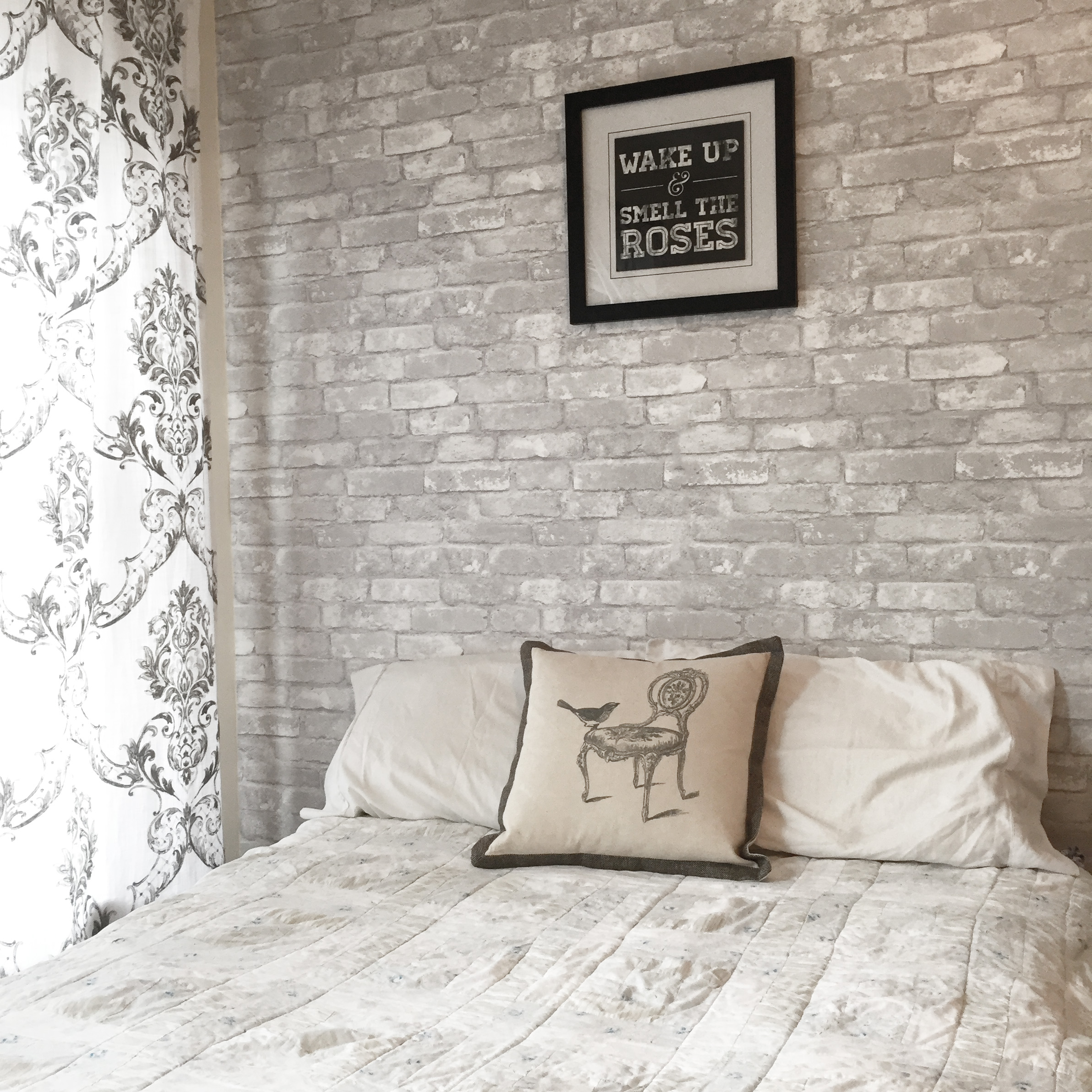 Faux brick wall in a French Country bedroom