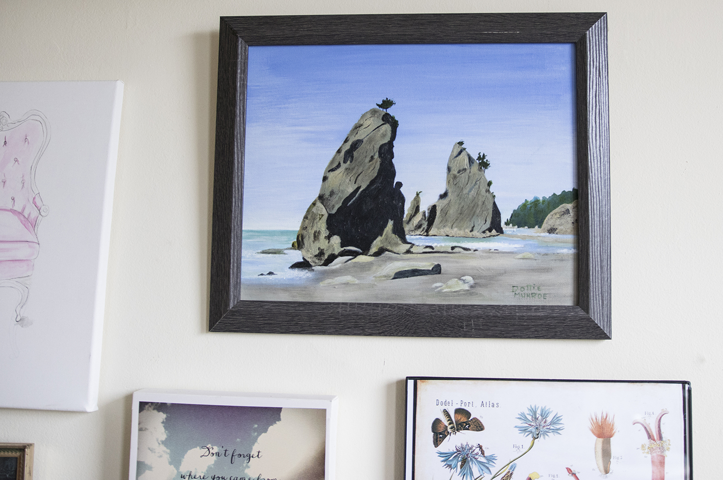 Hand painted beach and cliff art