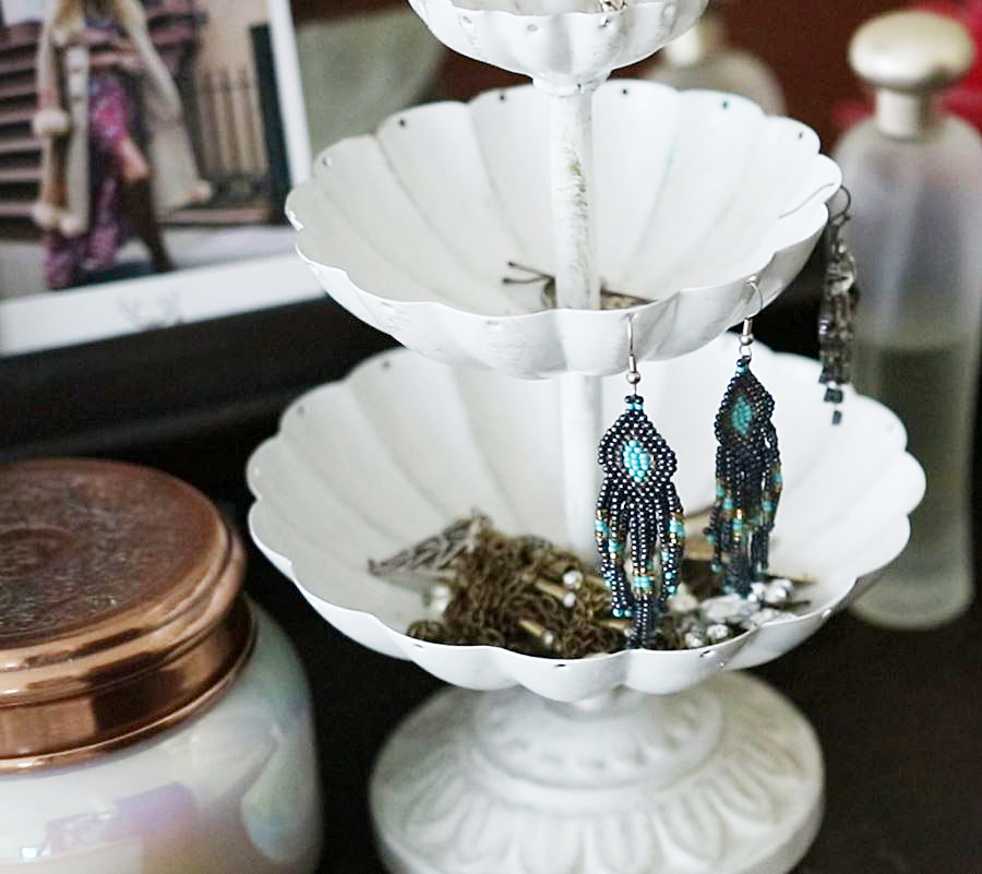Anthropologie candle and shabby chic jewelry holder