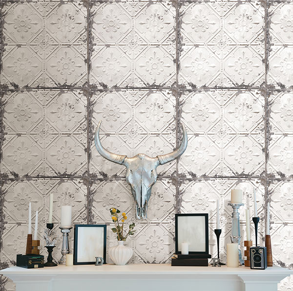 peel and stick vintage tin tile wallpaper