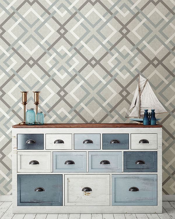 blue and grey trellis peel and stick wallpaper